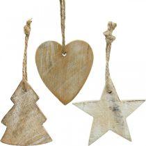 Trähängen, gran / hjärta / stjärna, juldekorationssats H7,5 / 8cm 9st