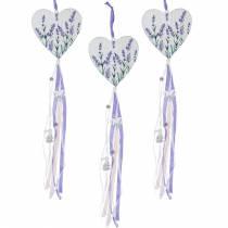 Hjärta med hängande lavendelmotiv, bröllop, sommardekoration i Medelhavet, Alla hjärtans dag, lavendelhjärta 4st