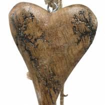 Trähjärtor med glitterinlägg på en tråd för att hänga naturlig L60cm