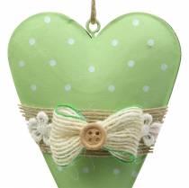Hjärthängare metall limegrön, vit blandad H11cm 4st
