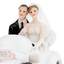 Bröllopsfigur brud och brudgum i en cabriolet 15cm