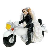 Bröllopsfigur bruden och brudgummen på motorcykeln 9 cm