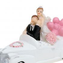 Bröllopsfigur bruden och brudgummen i bilen 16cm