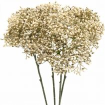 Konstgjord fläderbärkräm vit dekorativ blomgren 52cm 4st