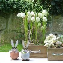 Träkanin i ägg, vårdekoration, kaniner med glasögon, påskkaniner 3st