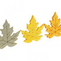 Strö dekoration höst, lönnlöv, höstlöv gyllene, orange, gula 4cm 72p