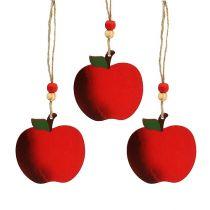 Trääpple för att hänga 7 cm rött 24st