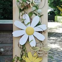 Träblommor, sommardekoration, prästkragar gula och vita, dekorationsblommor för upphängning av 4st
