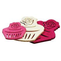 Trämuffins bordsdekoration pastellfärger muffins födelsedagsdekoration 24st