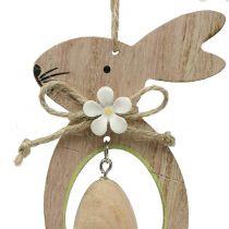 Dekorativ hängare träkanin med ägg 4st