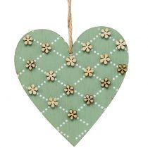 Trähjärta för att hänga grönt / naturligt 10cm 4st