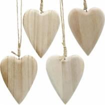 Trähjärtor att hänga naturliga 10cm 4st