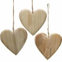 Trähjärta för att hänga natur dekorativa hjärtan Alla hjärtans dag mors dag 3st
