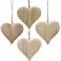 Dekorativt hjärta Alla hjärtans dag trähjärta för att hänga natur trädekoration 4st