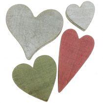 Trähjärtan grå / röd / grön 3-6,5 cm 8st