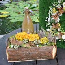 Trälåda för plantering, växtkruka med handtag, blomlåda med bark 45,5 cm