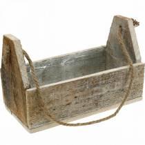 Trälåda för plantering, verktygslåda, växtlåda med handtag, trädekoration 30 cm