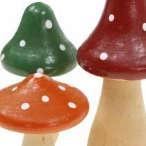 Dekorativa paddelar av trä orange, grön, röd 6/8 / 10,5 cm 9st