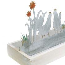 Träbricka med dekorativ pluggfjäderäng 43cm