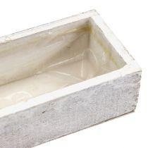 Träskål för plantering av vit 30cm x 9cm x 6cm