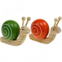 Träsniglar för dekorering, vår, trädgårdssnigel grön-orange, bordsdekor 6st