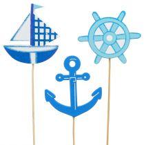 Träplugg maritim blå 9st