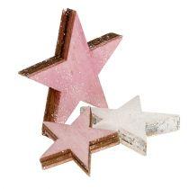 Trästjärna 3-5 cm rosa / vit med glitter 24st