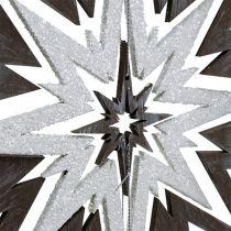 Trestjärna för att hänga grå, vit 48 cm x 40 cm