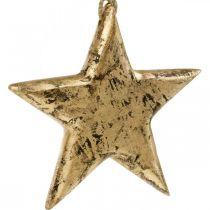 Stjärna att hänga, trädekoration med guldeffekt, advent 14cm × 14cm