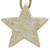 Trästjärna julgransdekorationer naturliga, vit tvättade 5cm 36st