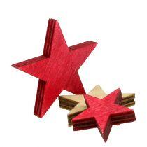 Trästjärnor 3-5 cm naturliga / röda 24st