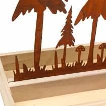 Träbricka skog siluett rost 30 cm x 15 cm