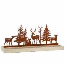 Träbricka skog med djur 50 cm x 17 cm