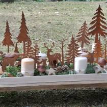 Träbricka med djur 35 cm x 15 cm