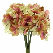 Hortensia grupp konstgjorda blommor rosa, gul 28 cm