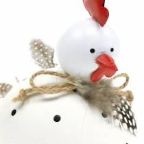 Dekorativ figur kycklingvit med prickar och fjädrar H13cm