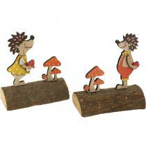 Igelkott med svamp, höstfigur, par av igelkottar gul / orange H11cm L10 / 10,5cm uppsättning med 2