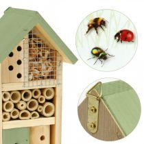 Insekthotell grönt trä häckande hjälp trädgård insekt hus H26cm