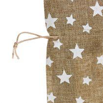 Säckvävssäck med stjärnor 23cm x 23 cm H35cm naturligt