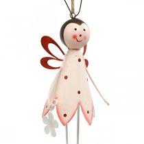 Skalbagge att hänga, vårdekoration, metallbagge med blomma, dekorationshängare 2st