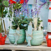 Keramisk cachepot, planter, blomkruka vågmönster Ø12,5cm 3st