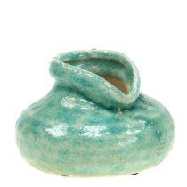 Keramisk vas antikblå H9cm