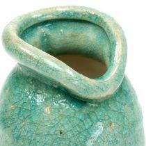 Keramisk vas antikblå H21cm