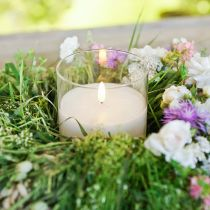 Ljusdekoration LED-ljus i glas äkta vax vit Ø10cm H13cm