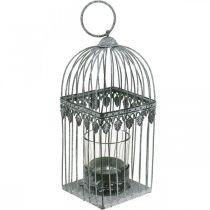 Ljuddekoration, fågelbur med värmeljusglas, metalllykta, bröllopsdekoration, lykta 22cm