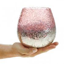 Glaslykta, värmeljushållare, bordsdekoration, ljusglas rosa / silver Ø15cm H15cm