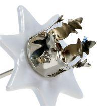 Ljusstake stjärna vit-silver Ø6cm 4st