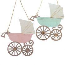 Dekorativ hängande barnvagn rosa / blå 16,5 cm x 15 cm 6 st