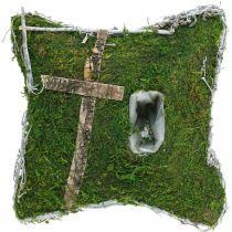 Kudde mossa och vinstockar med kors för gravupplägg 25x25cm