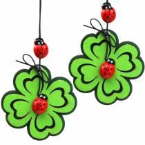 Shamrock med skalbagge för hängande grön 7cm 6st
